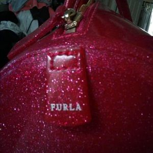 Furla Red Metallic Large Bag with lock,candy tag.